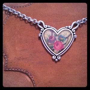 Brighton Heart and Flowers Reversible Necklace